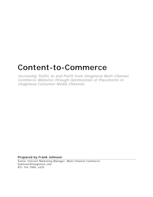 Content-to-Commerce Proposal