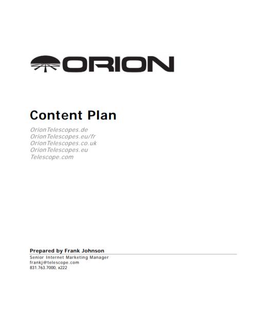 European Website Content Plan