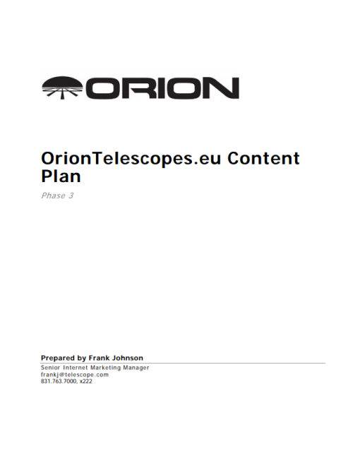 OrionTelescopes.eu Content Plan