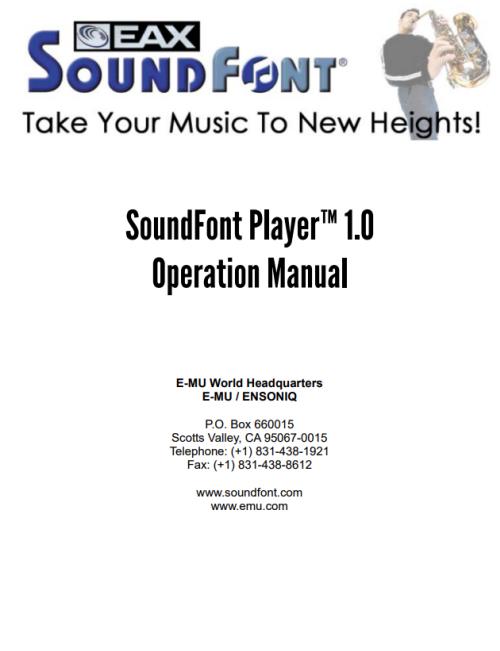 SoundFont Player Manual