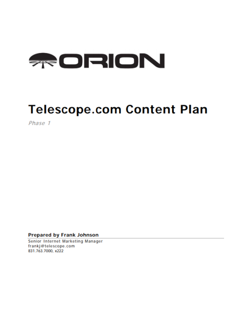 Telescope.com Phase 1 Content Plan