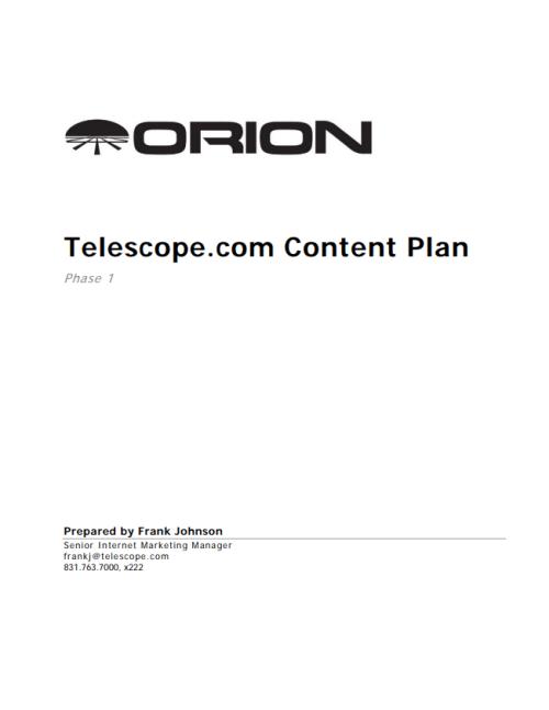 Telescope.com Phase 1 Content Plan